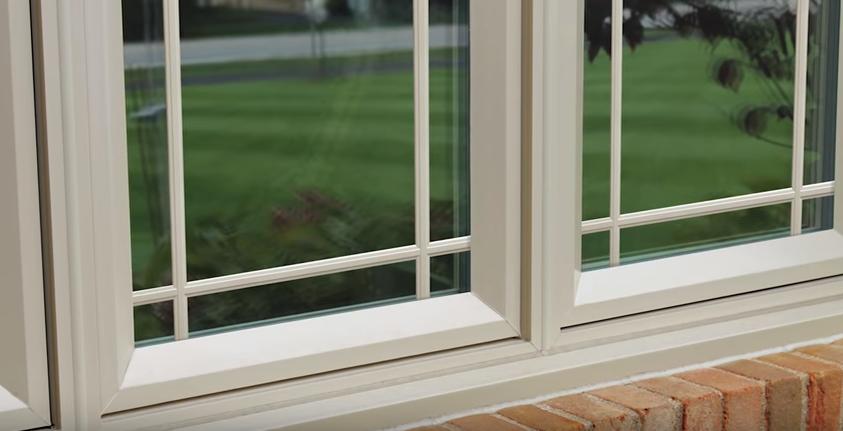 casement window on lawn